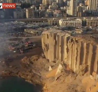 Aerial footage shows the full scale of Beirut's devastating explosion, which killed 100 and reduced buildings into rubble