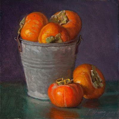 Persimmons in a bucket, still life oil painting original daily painting a painting a day