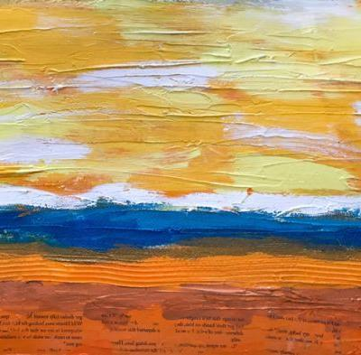 """""""Creamsicle"""" Modern Abstract Textured Mixed Media Painting from the Sweet Things Series by Lisa McKinney Kreymborg"""
