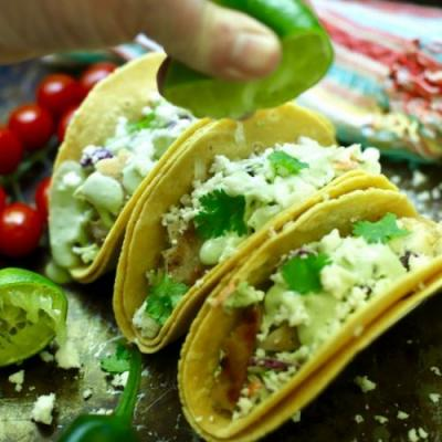 Grilled Fish Tacos with Spicy Slaw