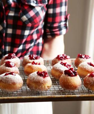 Cranberry Jam Doughnuts with Spiced Orange Sugar