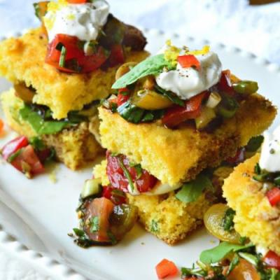 Cornbread with Tomato Salad