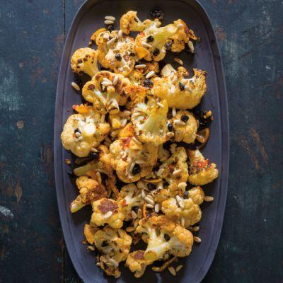 Cauliflower Roasted with Chile, Meyer Lemon, Currants and Pine Nuts