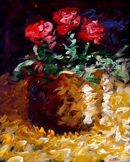 Mark Webster Artist - Abstract Electric Roses Acrylic Still Life Painting