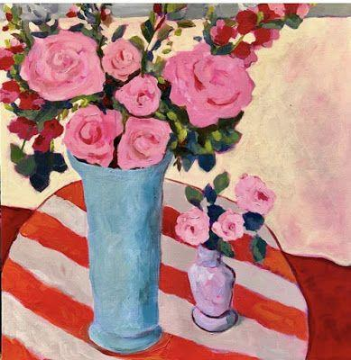 """Contemporary Still Life Art Painting """"MOTHER'S DAY FLOWERS"""" by Santa Fe Bold Expressive Artist Annie O'Brien Gonzales"""
