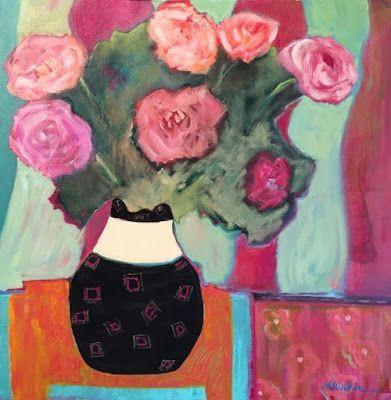 """Contemporary Expressionist Still Life Fine Art Painting, Roses """"STRIPES"""" by Oklahoma Artist Nancy Junkin"""
