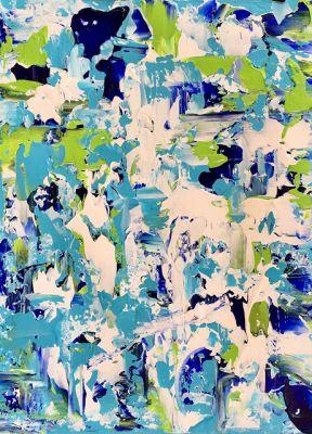 """Abstract Expressionist Palette Knife Art Painting """"Bladeworks 156-Coastal Abstract"""" by International Abstract Artist Kimberly Conrad"""