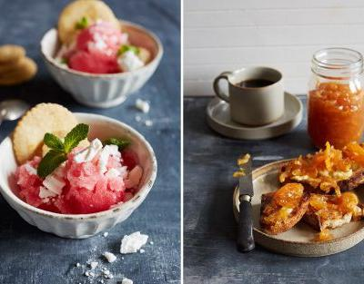 Flora Shedden's citrus twists: clementine whisky marmalade and grapefruit sorbet served with orange biscuits