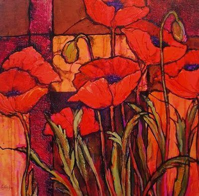 "Flower Art Painting ""Seven Poppies"" by Colorado Mixed Media Abstract Artist Carol Nelson"
