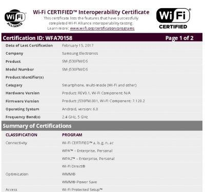 Possible Samsung Galaxy J5 (2017) Gets Wi-Fi Certified