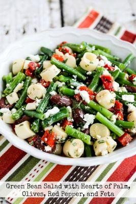 Green Bean Salad with Hearts of Palm, Olives, Red Pepper, and Feta