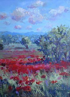 Valentine Red Poppies, New Contemporary Landscape Painting by Sheri Jones