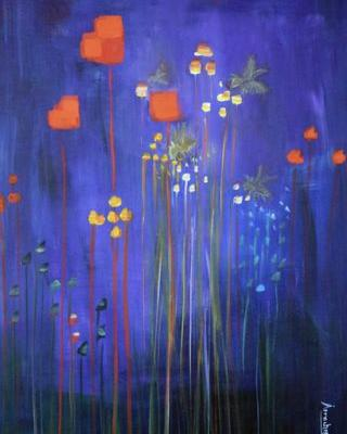 """Abstract Flower Painting, Environmental Fine Art Painting """"Bees Knees"""" International Abstract Realism Artist Arrachme"""