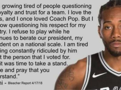 Kawhi Leonard Refusing To Play For Gregg Popovich Due To Anti-Donald Trump Remarks Is False