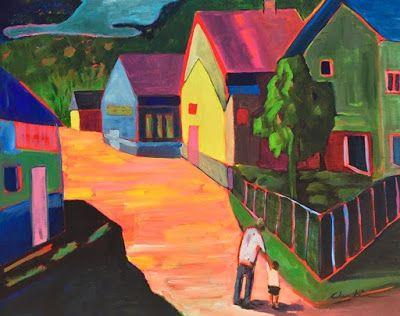 "Contemporary Landscape Painting, Expressionist Landscape, Colorful Houses, Urban Art ""Morning Stroll"