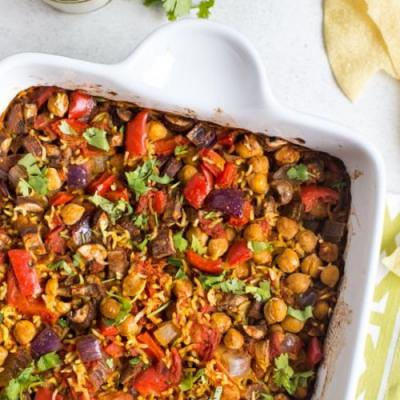 One pan chickpea curry + rice bake