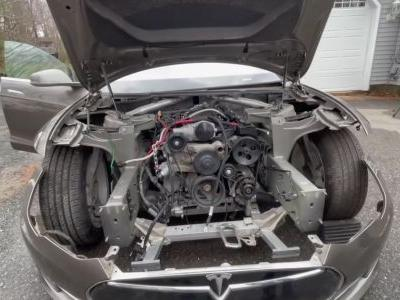 Turns Out You Can Fit A V8 In A Tesla Model S