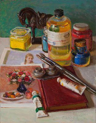 Contemporary still life painting original art materials a painting a day