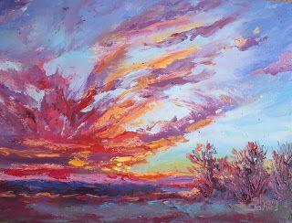Rising Sun's Impression, New Contemporary Landscape Painting by Sheri Jones