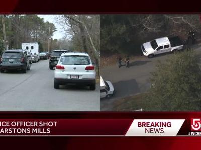 Suspect in custody after officer shot on Cape Cod