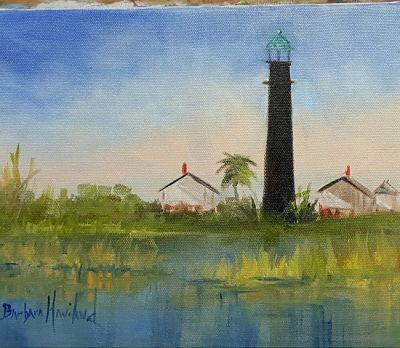 Port Bolivar Lighthouse,landscape,oil painting,canvas,Barbara Haviland,OPS,Texas Contemporary Artist