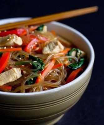 Korean Glass Noodles with Chicken & Vegetables
