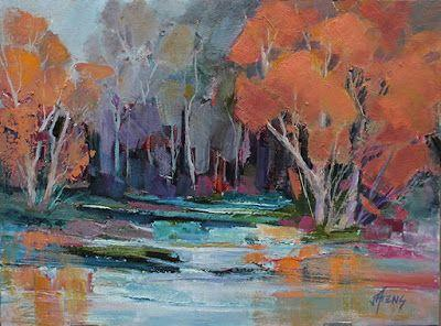 """Contemporary Impressionist Landscape Painting, Fine Art Oil Painting,""""Sara's Pond"""" by Colorado Contemporary Fine Artist Jody Ahrens"""