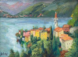 """""""Varenna View"""" Lake Como Oil Painting by Contemporary Impressionist Niki Gulley"""