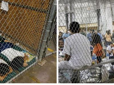 Side-by-side photos show migrant children locked up in cages under both Trump and Obama
