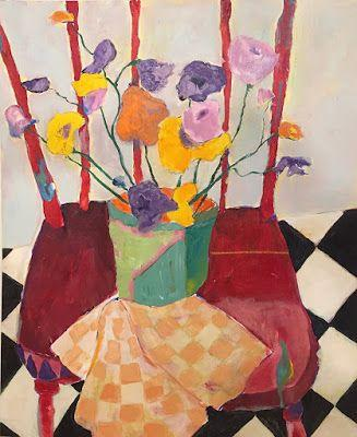 """Contemporary Expressionist Still Life Fine Art Painting """"RED KITCHEN CHAIR"""" by Oklahoma Artist Nancy Junkin"""