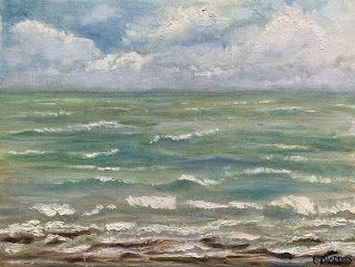 Corpus Bay Waters, by Melissa A. Torres, 9x12 oil on canvas panel