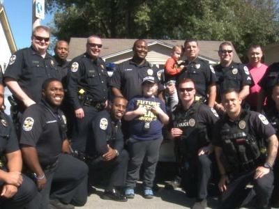 Police respond in full force to celebrate birthday of boy with autism