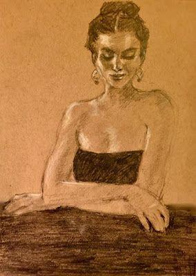 Gina At The Bar - original graphite portrait drawing