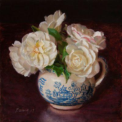 White rose flower still life oil painting original direct from artist contemporary realism