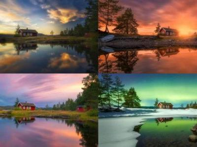 Photographing the Same Red Cabin Over the Years