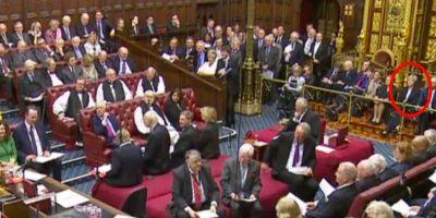 Theresa May is in the House of Lords staring at peers as they debate whether she can trigger Article 50