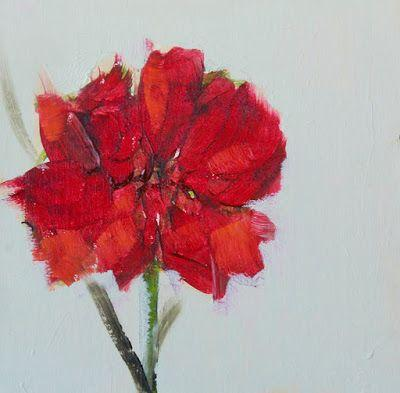 """Impressionist Floral Painting, Fine Art Oil Painting, Red Flower """"RED CARNATION"""", by Colorado Artist Susan Fowler"""