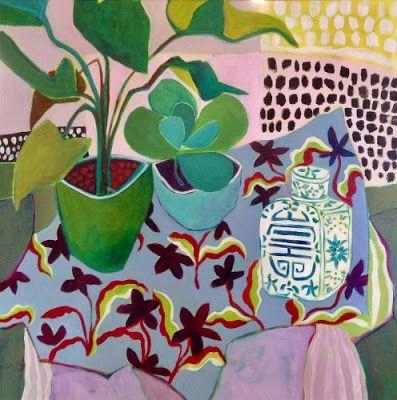 """Bold Expressionist Still Life Flower Art Painting """"Anything Goes"""" by Santa Fe Artist Annie O'Brien Gonzales"""