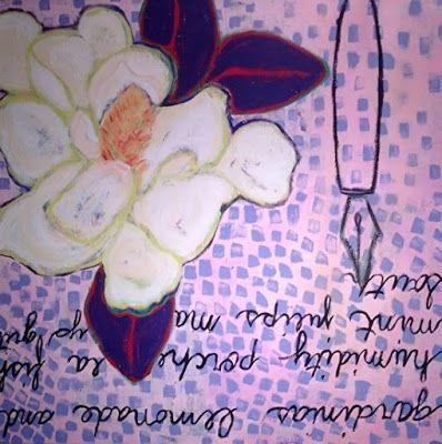 "Abstract , Folk Art, Narrative Art Painting,Flower ""Dear Miss Magnolia"" Narrative Art by Santa Fe Artist Judi Goolsby"