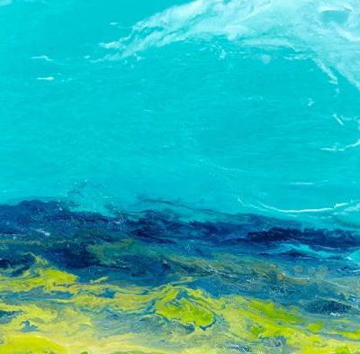 "Ocean, Abstract Seascape Painting,Coastal Art , Expressionism ""Caribbean Waters II"" by International Contemporary Seascape Artist Kimberly Conrad"