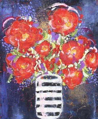 """Contemporary Abstract Expressionist Still Life Floral Painting, Red Flowers """"SET THE TABLE FOR TWO"""" by Abstract Artist Pamela Fowler Lordi"""