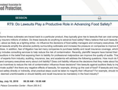 Do Lawsuits Play a Productive Role in Advancing Food Safety?