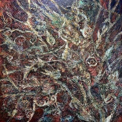 "Mixed Media Painting, Contemporary Art, Abstract, Textured Art ""Weaving The Season II"" by Contemporary Artist Liz Thoresen"