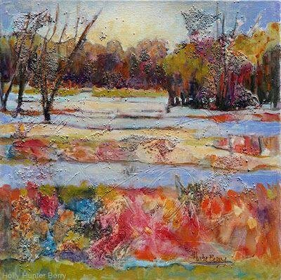 """Abstract Landscape Painting, Mixed Media, Trees, Fine Art For Sale, """"Rebirth"""" By Passionate Purposeful Painter Holly Hunter Berry"""