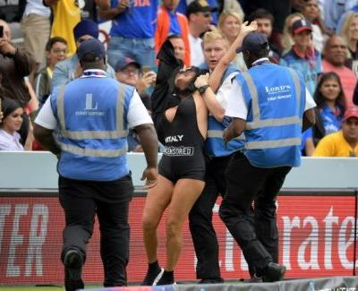 Scantily clad pitch invader foiled at Cricket World Cup final