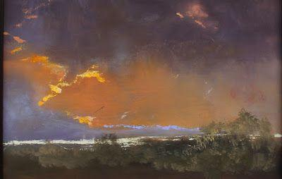 """Contemporary Landscape Fine Art Oil Painting, Sunset, Mountains """"Lakeside Skyscape"""" by Colorado Artist Susan Fowler"""