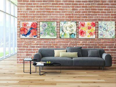"Floral Series, Contemporary Abstract Expressionist Floral Paintings ""Spring Jazz"" by Contemporary Expressionist Pamela Fowler Lordi"