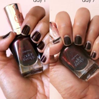 Desperately Seeking Persistent Polish: 7 Days With Sally Hansen Color Therapy Falling Deep