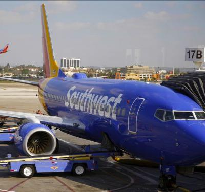 A Southwest Airlines Boeing 737 skids off the runway at Burbank Airport near Los Angeles