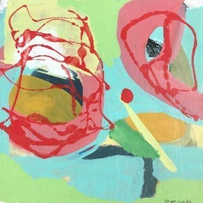 """Contemporary Art, Abstract,Expressionism, Studio 9 Fine Art """"About that Red Dot"""" by International Abstract Artist Amanda Saint Claire"""